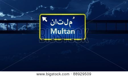 Multan Pakistan Highway Road Sign At Night