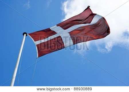 Danish Flag In Strong Winds