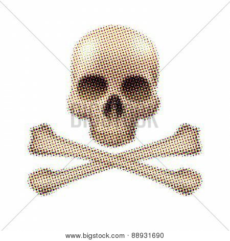 Halftone skull and crossbones