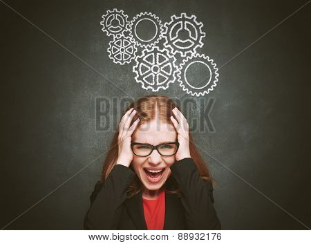 Blackboard Concept Young  Woman Stressed With Headache