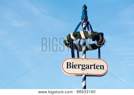 Wreath And Shield As A Sign For A Bavarian Beer Garden