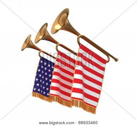 Three Trumpets With A Flags.