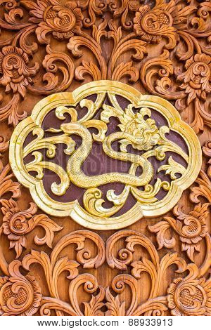 Snack Wood Carving Wall Sculptures In Thai Temple