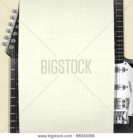 Rock Music Background With Guitar And Banner