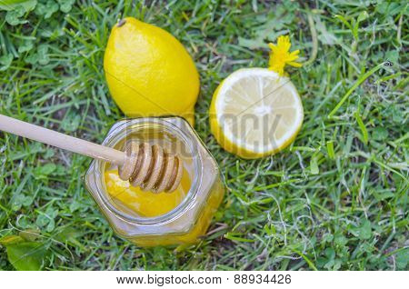 Jar Of Honey, Dipper, Lemon And Yellow Flowers In The Grass