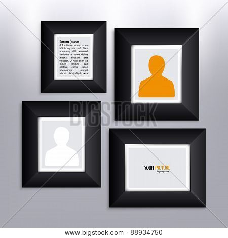 Set of photo frames on the wall.