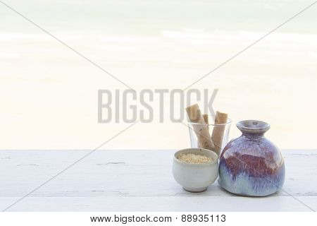 Snack Set In Different Ware Rest By The Beach