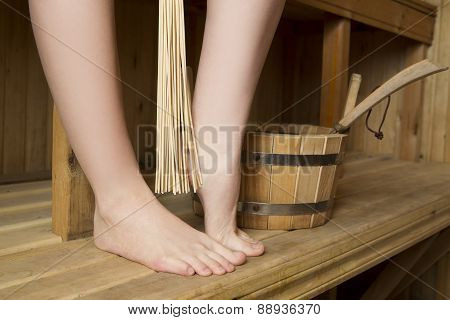Beautiful Female Legs In Sauna, Bath Accessories