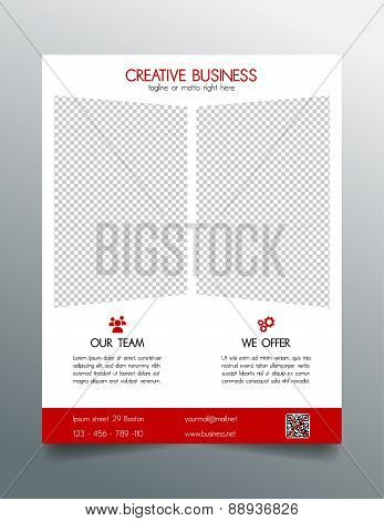 Creative business flyer template - red sleek simple modern design