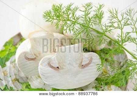Raw Fresh Mushrooms And Rosemary
