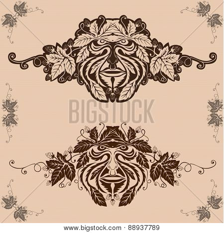 vintage background with mask or forest spirit face from leaves