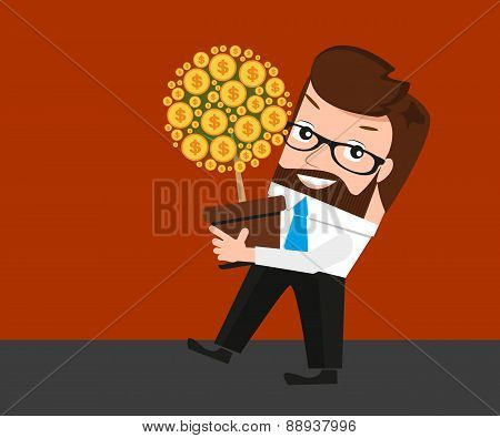 Lucky businessman investments conceptual illustration