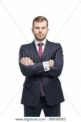 Young Standing Handsome Businessman In A Suit. Isolated On White Background.