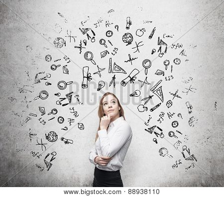 Young Beautiful Business Woman Is Thinking About Optimisation Business Process. Drawn Business Icons