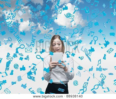 Beautiful Young Business Woman Is Looking At The Tablet. Social Media Icons Are Falling Down Over Th