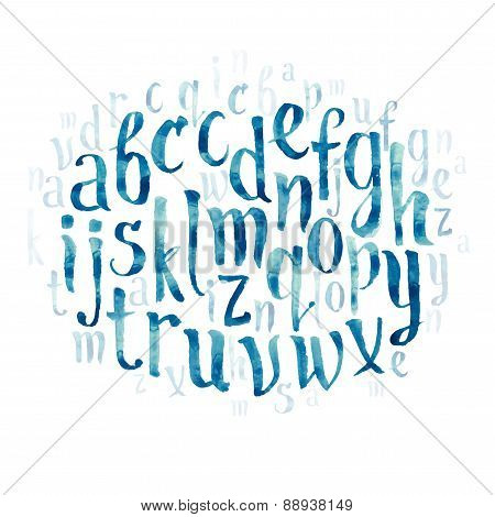 Colorful watercolor aquarelle font type handwritten hand drawn doodle abc alphabet letters vector