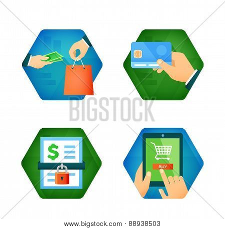 Set of icons about online shopping, pay buy card