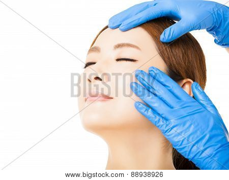 Young   Woman Face With Medical Beauty Concept