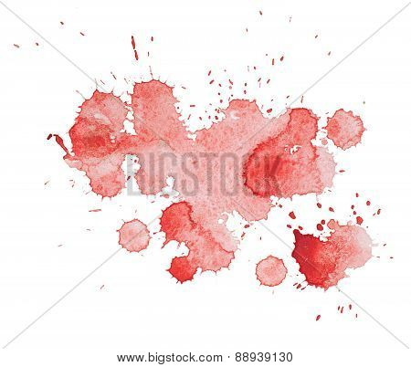 Abstract watercolor aquarelle hand drawn colorful red art paint splatter stain on white background.