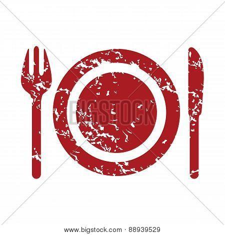 Red grunge dinner logo