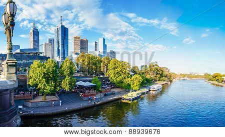 View Over Yarra River And City Skyscrapers In Melbourne, Australia