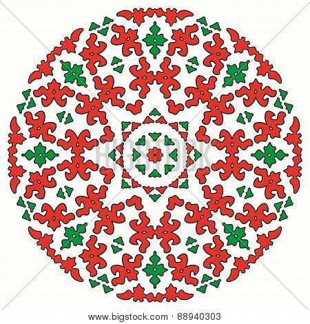 Oriental Lace Ornament, Red And Green