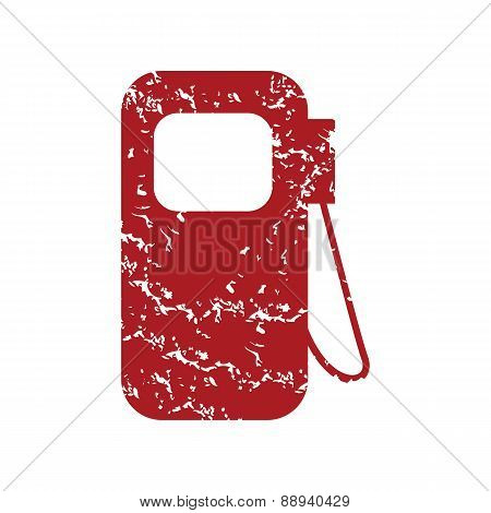 Red grunge gas station logo