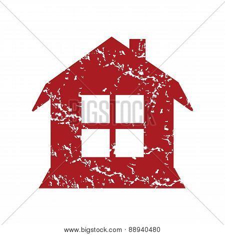 Red grunge house logo