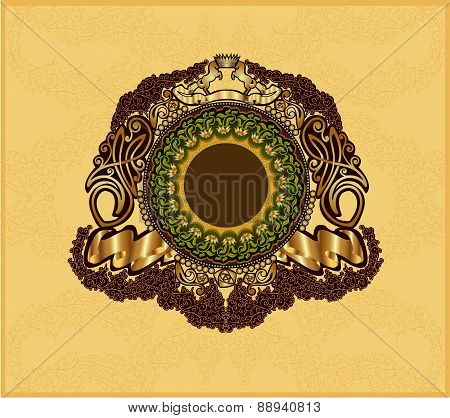 vintage Heraldic Background with Gold patten and round banner