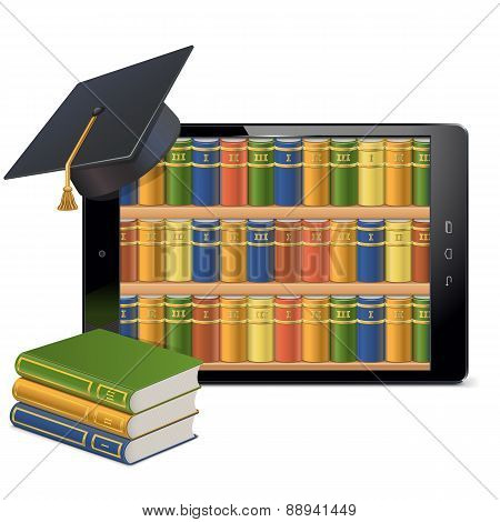 Vector Tablet Pc With Library