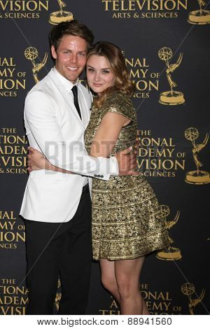 LOS ANGELES - FEB 24:  Lachlan Buchanan, Hunter King at the Daytime Emmy Creative Arts Awards 2015 at the Universal Hilton Hotel on April 24, 2015 in Los Angeles, CA