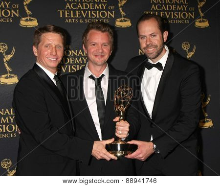 LOS ANGELES - FEB 24:  Bradley Bell, Anthony Ferrari, Casey Kasprzyk at the Daytime Emmy Creative Arts Awards 2015 at the Universal Hilton Hotel on April 24, 2015 in Los Angeles, CA