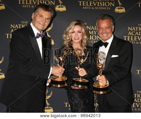 LOS ANGELES - FEB 24:  Fred Willard, Donna Mills, Ray Wise at the Daytime Emmy Creative Arts Awards 2015 at the Universal Hilton Hotel on April 24, 2015 in Los Angeles, CA