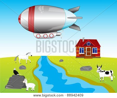 Airship On Village