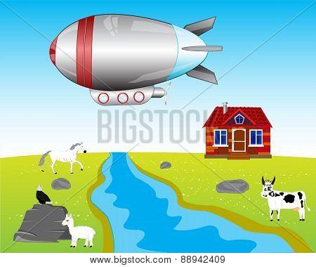 Airship On Village
