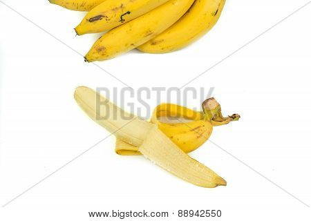 Close Up Of A Banana. Isolated On White.