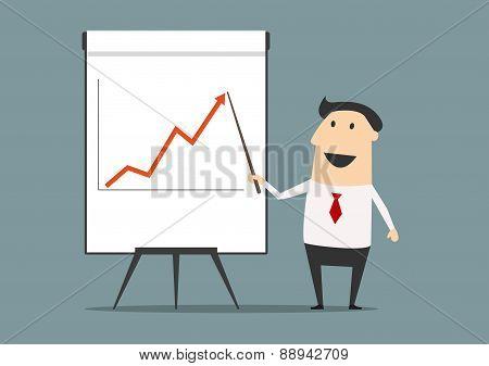 Businessman presenting financial growth on graph