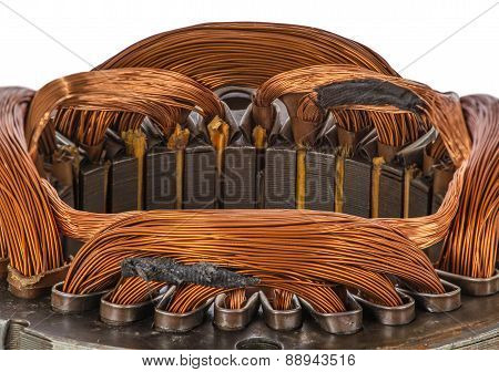 Closeup Detail On An Electric Machine Winding, Isolated On White Background