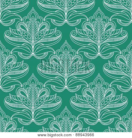 Persian openwork foliage compositions seamless pattern