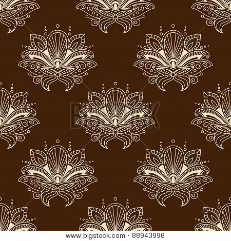 Brown and yellow eamless pattern with paisley ornament