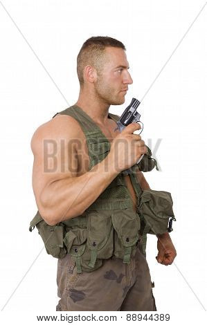 Soldier With Gun Isolated On White.