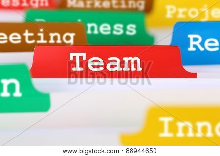 Team Or Teamwork Office Text On Register In Business Services Documents