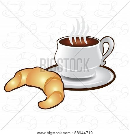 Tea Time Background Cup Coffee Croissant Icon