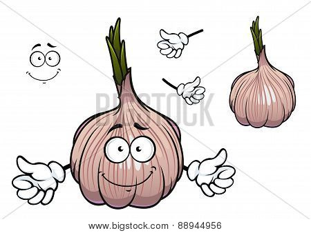 Bulb of sprouted cartoon garlic vegetable character