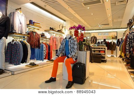 SHENZHEN, CHINA - FEBRUARY 16, 2015: boutique interior in Shenzhen Airpor. Shenzhen Bao'an International Airport is located near Huangtian and Fuyong villages in Bao'an District, Shenzhen, Guangdong