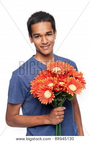 Happy Man With Flowers