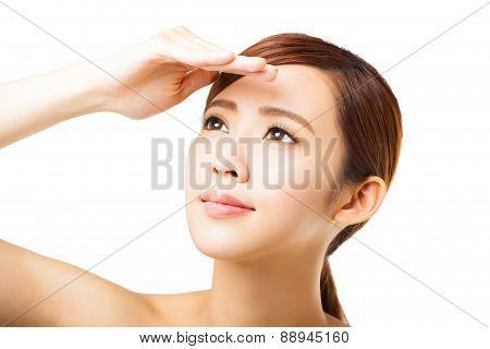 Closeup Young Woman Face