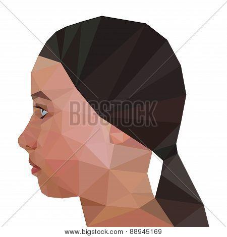 Profile of Modern Girl, geometric triangular stile