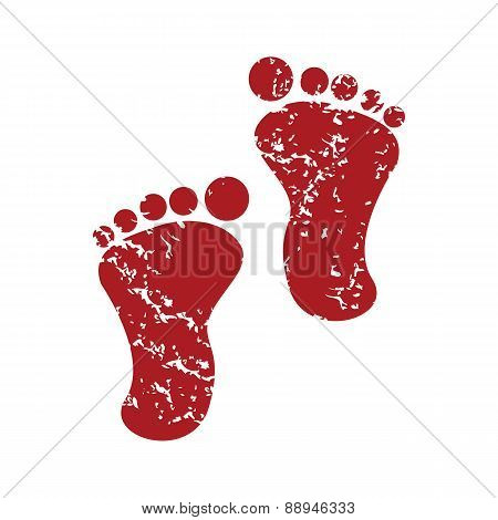 Red grunge foot steps logo