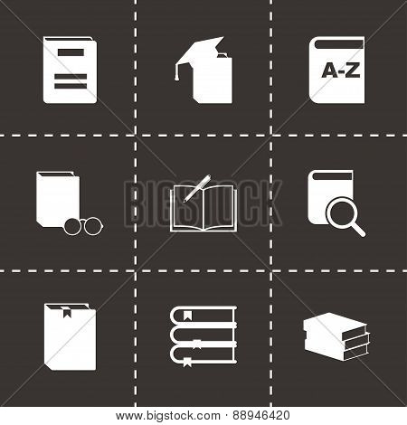 Vector black schoolbook icon set